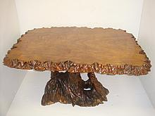 Modernist Burl Top Coffee Table with Root Base: