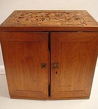 Teak Carved Dragon Top Double Blind Cabinet: