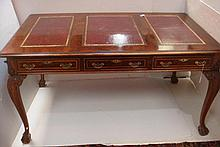 Three Drawer Faux Partners Desk with Glass Top: