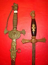 Two Fraternal Order Swords, FCB and KOC: