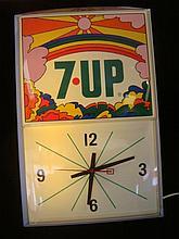 PETER MAX 7-UP Advertising Illuminated Wall Clock:
