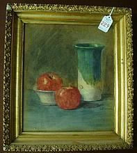 L.J. FARNUM Signed Still Life Watercolor of Apples: