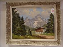 Mountain Landscape Oil on Canvas: