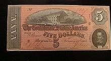 CONFEDERATE $5 Note, February 17th, 1864: