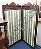 Edwardian carved dark wood two fold screen with