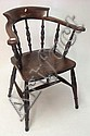 A 'Captains' chair with spindle back, elm seat and