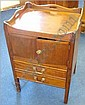 A Georgian mahogany tray top commode with two