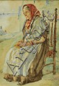 WALTER LANGLEY (1852-1922) watercolour, 'Study of
