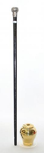 Silver mounted walking cane with embossed