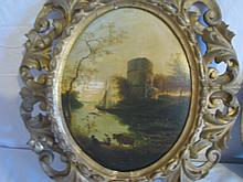 Pair European landscape paintings in nice frames