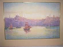 Water Color a sunset at Istanbul Harbor
