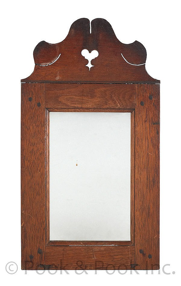 Pennsylvania walnut mirror, ca. 1800, with a heart