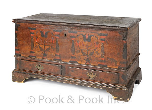 Pennsylvania painted poplar dower chest, ca. 1800,
