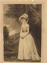 Mezzotint full length portrait of lady published b