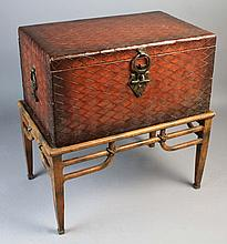 UNUSUAL BRAIDED FAUX LEATHER CHEST ON STAND