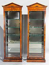 PAIR OF EMPIRE STYLE GLASS AND MAHOGANY CURIO CABINETS, ELECTRIFIED