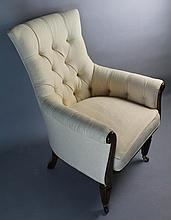 WILLIAM IV STYLE UPHOLSTERED LIBRARY CHAIR