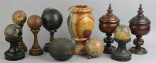 GROUP OF MISCELLANEOUS ORNAMENTS, INCLUDING MARBLE BALLS, STANDS, A MARBLE URN, A MINIATURE GLOBE, A BOX AND TWO TREEN COVERED GOBLE...