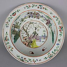CHINESE FAMILLE ROSE PORCELAIN BOWL WITH EVERTED RIM