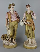 ROYAL DUX PAIR OF FIGURES OF A FISHERMAN AND AN APPLE GATHERER