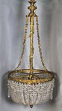 FRENCH GILT WITH GLASS HUNG BEADS CHANDELIER