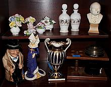 GROUP OF ENGLISH COMMEMORATIVE ITEMS INCLUDING A ROYAL DOULTON CHURCHILL TOBY AND SILVER JUBILEE PORCELAIN FLORAL ARRANGEMENT