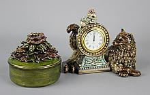 JAY STRONGWATER JEWELED CLOCK WITH CAT AND MOUSE AND CIRCULAR FLORAL JEWEL TOPPED LIDDED CONTAINER