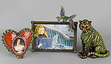 JAY STRONGWATER JEWELED TIGER , RECTANGULAR PICTURE FRAME WITH BIRD, AND JEWELED HEART FRAME