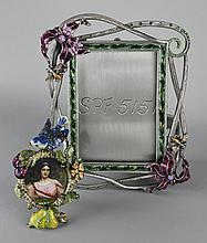 JAY STRONGWATER JEWELED FLORAL RECTANGULAR FRAME AND A CIRCULAR PICTURE FRAME WITH JEWELED BIRD ATOP