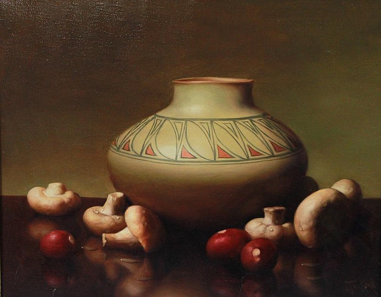 ALFRED JACKSON (AMERICAN, 1940-2001) STILL LIFE WITH MUSHROOMS Oil on canvas: 16 x 20 in.