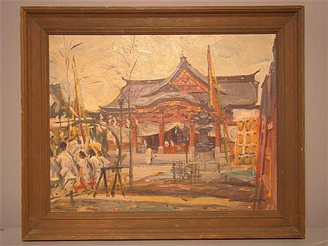 REYNOLD BROWN (AMERICAN, 1917-1991) SANNO SHRINE FESTIVAL TOKYO, AUG. 1961 Oil on canvas: 12 3/4 x 16 in.