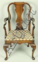 QUEEN ANNE STYLE ARM CHAIR WITH DIAMOND PATTERNED SEAT