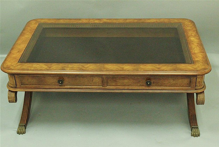 Walnut Display Coffee Table With Glass Top