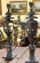 PAIR OF TOLE LANTERNS WITH EAGLE FINIALS