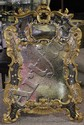 DECORATOR TRUMEAU STYLE GOLD AND PAINTED LARGE MIRROR