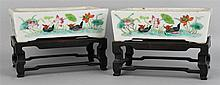 PAIR OF CHINESE FAMILLE ROSE RECTANGULAR JARDINIERES, QING DYNASTY