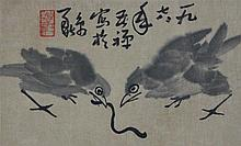STYLE OF LI KUCHAN TWO BIRDS WITH A WORM Ink and watercolor: 7 1/4 x 12 in.