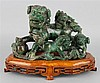 CHINESE AGATE BUDDHISTIC LION AND CUBS
