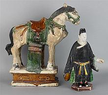 MING DYNASTY PAINTED AND GLAZED POTTERY HORSE