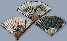 MA SHOUHUA (CHINESE, 1893-1977) PAINTED FAN along with TWO FANS