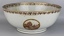 CHINESE EXPORT SEPIA DECORATED LARGE PUNCH BOWL, 18TH C.