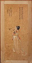 ZHANG DAQIAN (CHINESE, 1899-1983) INCENSE ANGEL FROM MOGAO GROTTOS WITH INK CALLIGRAPHY Print with original calligraphy by Zhang Daq...