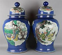PAIR OF CHINESE FAMILLE VERTE AND POWDER BLUE-GROUND LARGE JARS AND COVERS