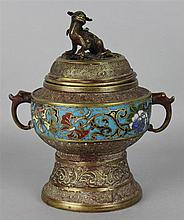 CHINESE CLOISONNE ENAMEL CENSER AND COVER