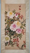 CHEN ZHIFO (CHINESE, 1896-1962) PEONIES AND PEACH BLOSSOMS Ink and color on silk mounted: 34 3/4 x 16 in.