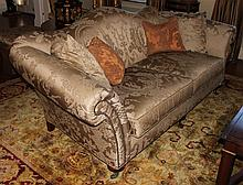 CHINOISERIE TAUPE SILK UPHOLSTERED SOFA, POSSIBLY DONGHIA