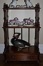 VICTORIAN FRUITWOOD WHAT NOT STAND AND A MINIATURE CHEST OF DRAWERS