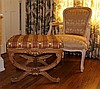 LOUIS XV STYLE ARMCHAIR TOGETHER WITH A NEOCLASSICAL STYLE TUFTED BOX SEAT