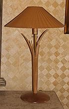 PAIR OF MODERN BIRCH FOLIATE LAMPS WITH BAMBOO SHADES