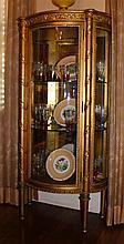 FRENCH LOUIS XVI STYLE ORNATE GOLD PAINTED DEMILUNE VITRINE